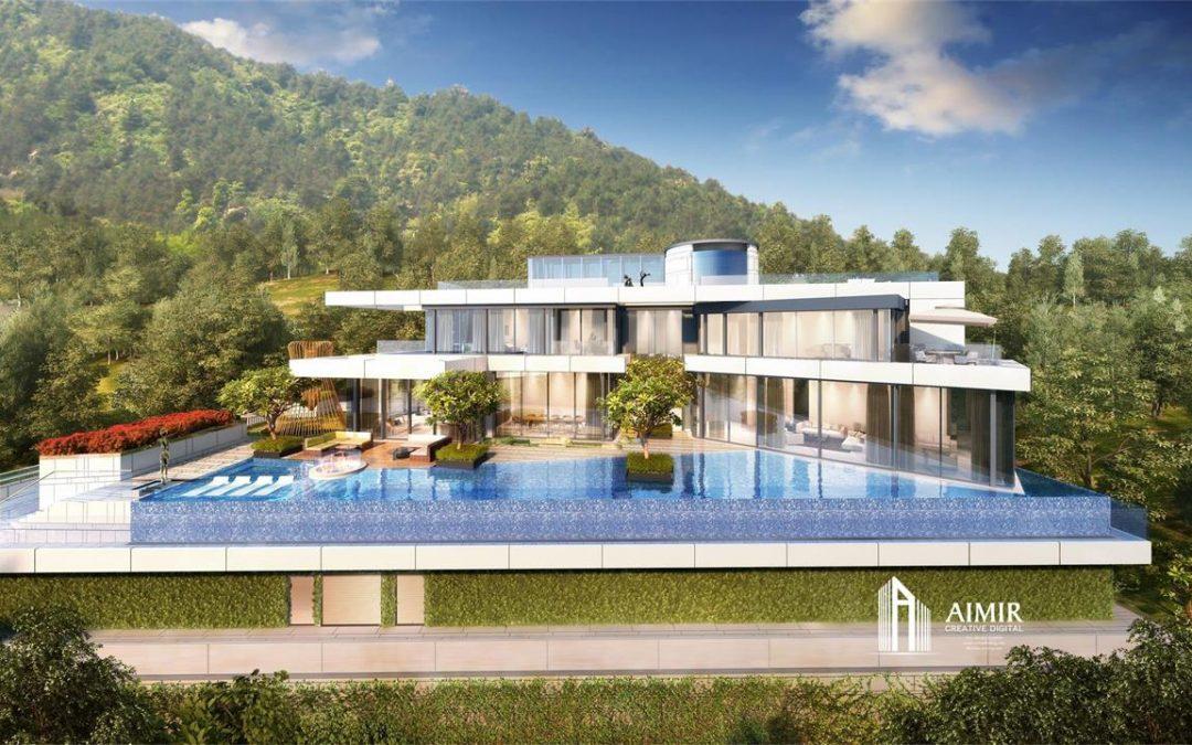3D Photorealistic Renderings of Luxury Hillside House on Mount Kellett in Hong Kong