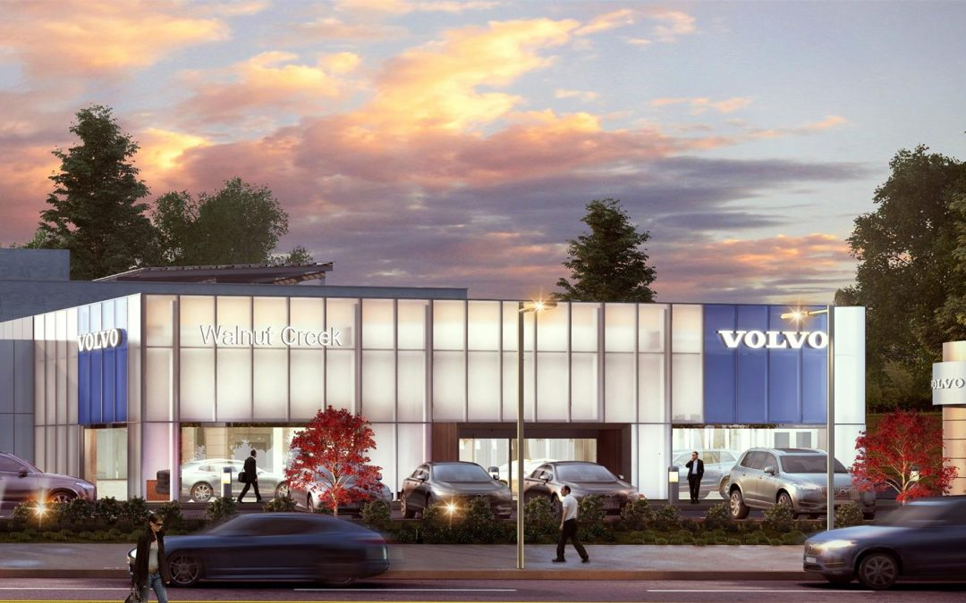 Architectural 3D renderings of Volvo Auto dealership in California